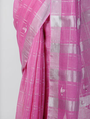 Pink-Ivory Hand-embroidered Linen Saree with Zari and Tassels