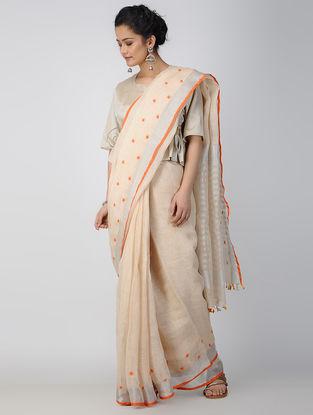 Ivory-Orange Hand-embroidered Linen Saree with Tassels