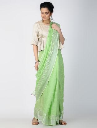 Green Gota-patti Linen Saree with Zari and Tassels