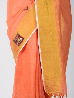 Pink-Red Patch-work Linen Saree with Zardozi-work and Tassels