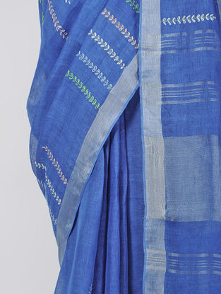 Blue Hand-embroidered Linen Saree with Zari and Tassels