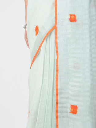 White Patch-work Linen Saree with Zari and Tassels