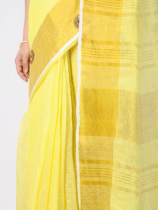 Yellow Gota-patti Linen Saree