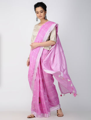 Pink-Ivory Patch-work Linen Saree with Zari and Tassels