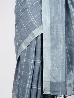 Grey-Ivory Hand-embroidered Linen Saree with Zari and Tassels