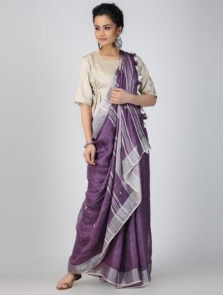 Purple-Grey Gota-patti Linen Saree with Zari and Tassels