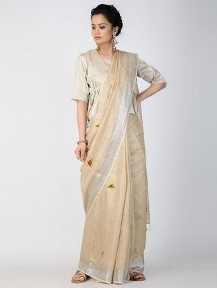 Beige-Ivory Patch-work Linen Saree with Zari and Tassels