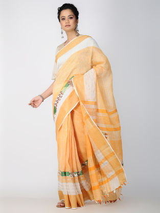 Yellow-Ivory Patch-work Linen Saree with Tassels