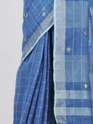 Blue Patch-work Linen Saree with Tassels