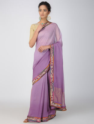Purple Georgette Saree with Patch-work Border and Zari