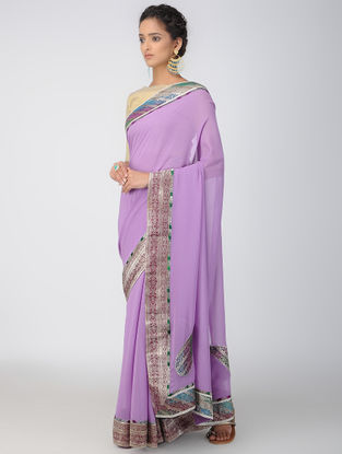 Purple-Green Georgette Silk Saree with Patch-work Border