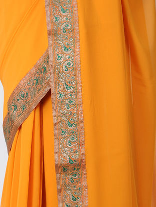 Orange-Green Georgette Silk Saree with Patch-work Border