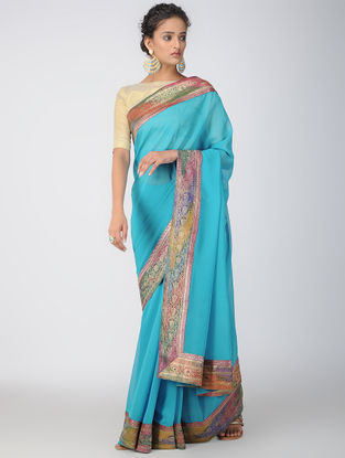 Turquoise Georgette Silk Saree with Patch-work Border