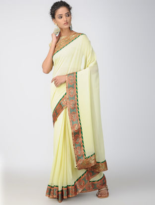 Yellow-Red Georgette Saree with Brocade Patch-work Border