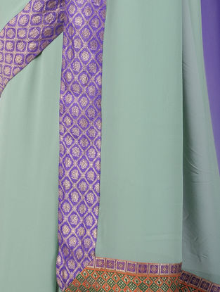 Green-Purple Ombre-dyed Georgette Silk Saree with Patch-work Border