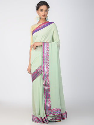 Green-Red Georgette Saree with Brocade Patch-work Border