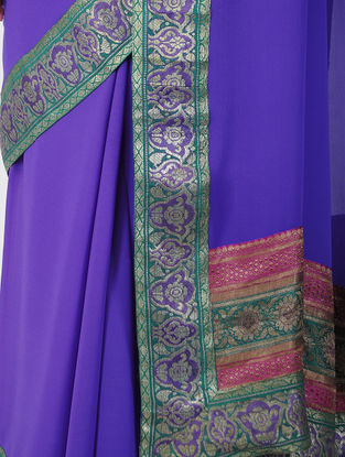 Purple-Green Georgette Saree with Brocade Patch-work Border