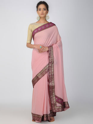 Pink Brocade Patch-work Georgette Saree with Patch-work Border