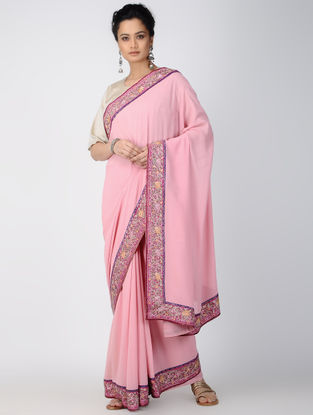 Pink Georgette Saree with Patch-work Border