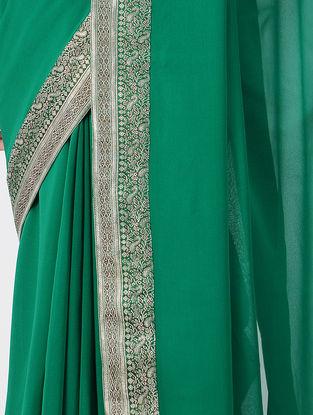 Green Silk Saree with Patch-work Border