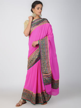 Pink-Green Georgette Saree with Patch-work Border