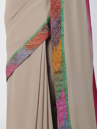 Beige-Red Ombre-dyed Georgette Saree with Patch-work Border
