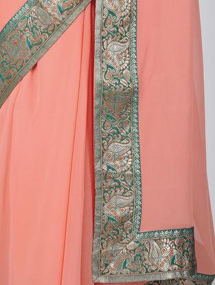 Peach-Green Georgette Silk Saree with Patch-work Border