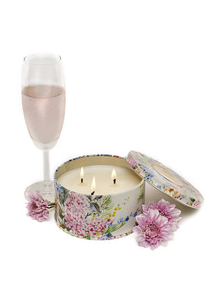Lily of the Valley 3 Wick Tin Scented Candle (Dia: 4.5in, H:2.3)