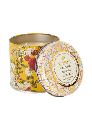 Victorian Tea Rose Mason Tin Scented Candle (Dia:3in, H:3in)