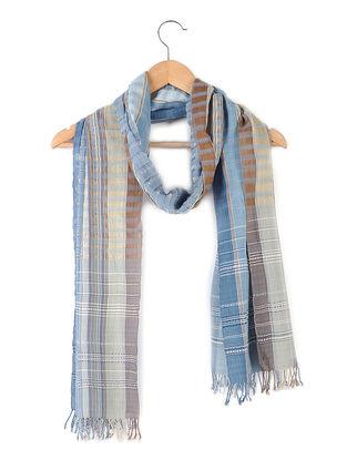 Blue-Brown Handloom Cotton Silk Stole with Tassels by Jaypore