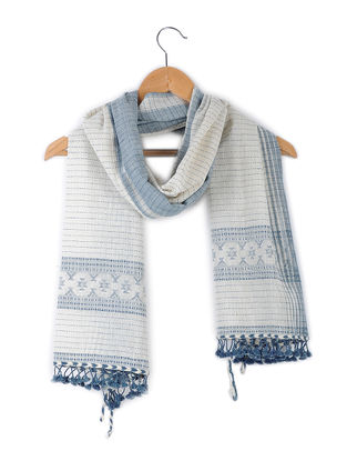 White-Blue Handloom Kala Cotton Stole with Tassels by Jaypore