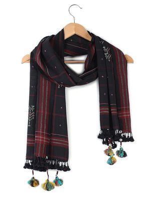 Black-Maroon Tangaliya-embroidered Handloom Cotton Stole with Tassels by Jaypore