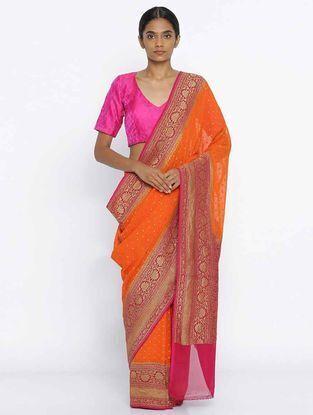 Orange-Pink Benarasi Georgette Saree
