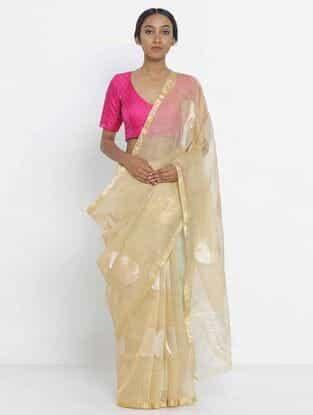 Beige Benarasi Linen Silk Saree