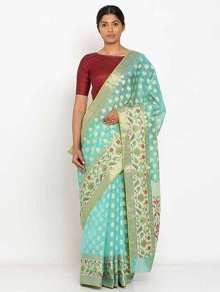 Turquoise Benarasi Silk Saree