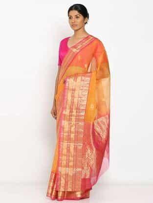 Yellow-Pink Benarasi Kora Silk Saree