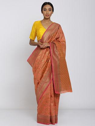 Red Benarasi Kora Silk Saree