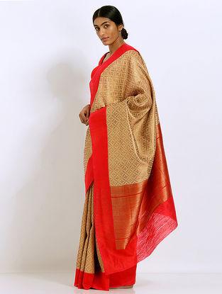 Beige-Red Benarasi Silk Saree