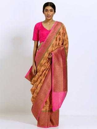 Beige-Pink Benarasi Silk Saree