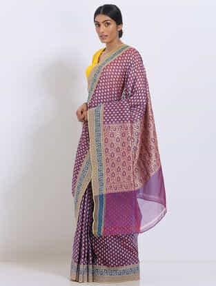 Purple Benarasi Kora Silk Saree