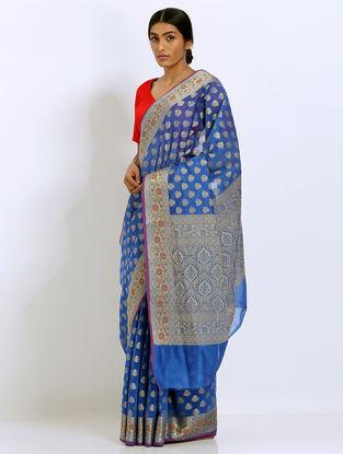 Blue Benarasi Kora Silk Saree
