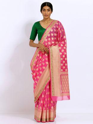 Pink Benarasi Kora Silk Saree