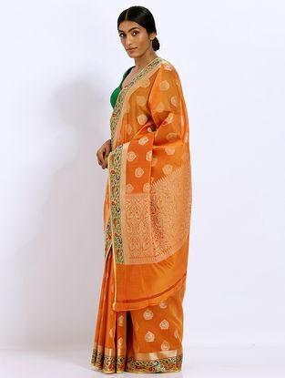 Orange Benarasi Kora Silk Saree