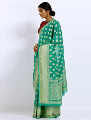Green Benarasi Kora Silk Saree