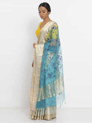 Blue Embroidered Silk Saree with Zari