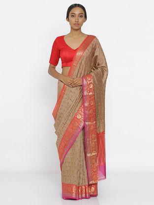 Beige-Red Tussar Silk Saree with Zari