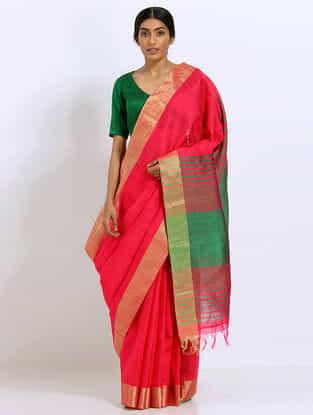 Red-Green Silk Saree with Zari Border