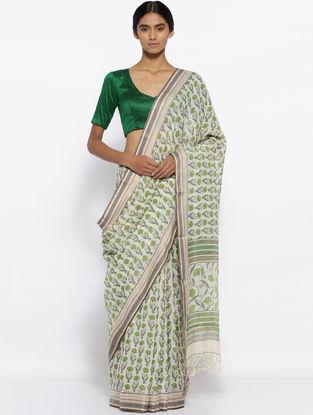 Ivory-Green Printed Cotton Saree