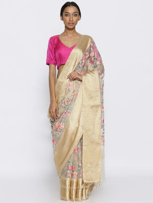 Ivory-Pink Embroidered Organza Saree with Zari