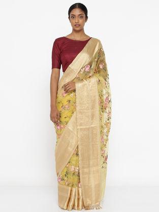 Yellow Embroidered Organza Saree with Zari